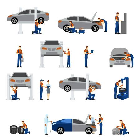 Illustration pour Mechanic flat icons set with working man silhouettes isolated vector illustration - image libre de droit