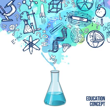 Ilustración de Education concept with realistic lab flask and sketch science symbols vector illustration - Imagen libre de derechos
