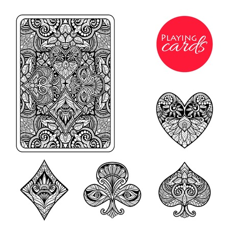 Photo pour Decorative playing card suits set with hand drawn ornament isolated vector illustration - image libre de droit