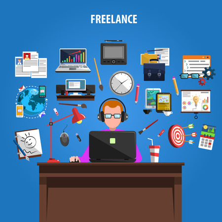 Illustration pour Freelance opportunities for creative jobs concept pictograms composition poster with staff member at work abstract vector illustration - image libre de droit
