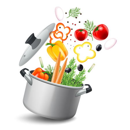 Illustration for Casserole pot with vegetables such as carrots tomatoes and peppers realistic vector illustration - Royalty Free Image