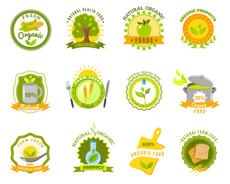 Eco organic farm quality  fresh products for healthy natural food emblems icons set abstract isolated vector illustration