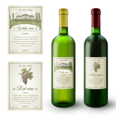 Illustration pour Wine realistic bottles and paper sticky labels set isolated vector illustration - image libre de droit