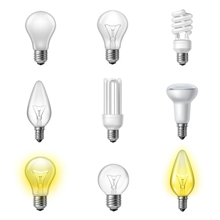 Low energy fluorescent halogen and commonly used different types light bulb realistic pictograms set collection vector illustration