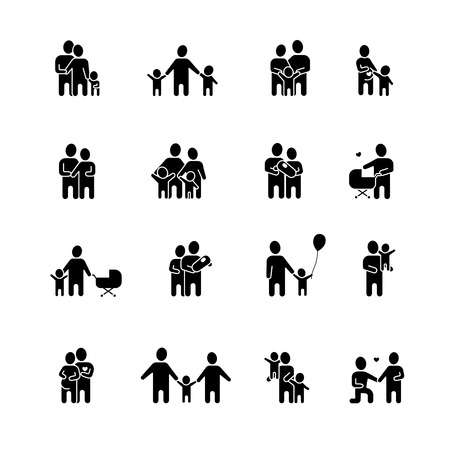 Illustration pour Family black white icons set with man woman and children flat isolated vector illustration - image libre de droit