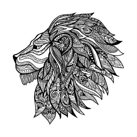 Illustration pour Hand drawn decorative lion head with floral ornament vector illustration - image libre de droit