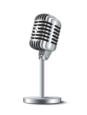 Illustration pour Vintage metal studio microphone isolated on white background vector illustration - image libre de droit