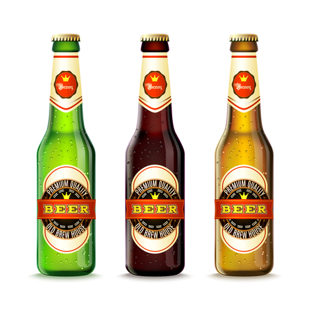 Illustration pour Realistic green and brown beer bottles set isolated vector illustration - image libre de droit