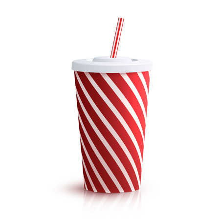 Illustration pour Red striped red striped paper glass with drinking straw isolated on white background vector illustration - image libre de droit