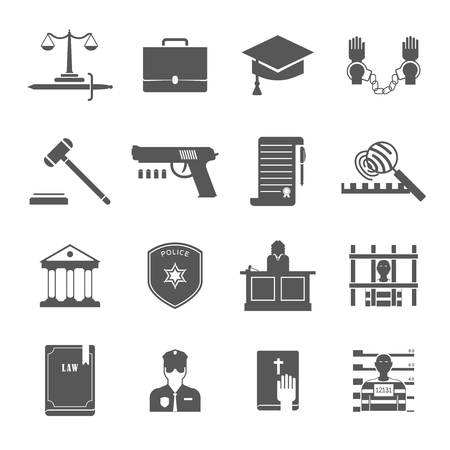 Law enforcement and court black white icons set with lawyers police and criminal flat isolated vector illustration