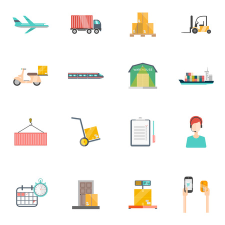 Logistics icons set with transportation storage and time symbols flat isolated vector illustration