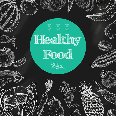 Photo for Healthy food diet blackboard background with fruits and vegetables arrangement in white chalk doodle  abstract vector illustration - Royalty Free Image