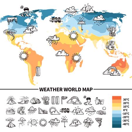 Illustration pour Meteorology design concept with sketch weather forecast symbols on world map vector illustration - image libre de droit