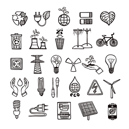 Renewable energy sources and ecology symbols with tools and