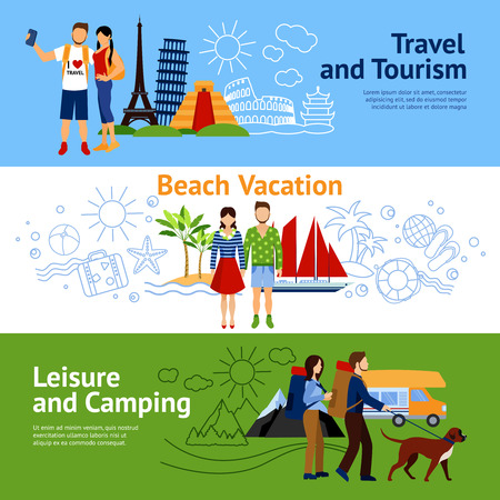 Horizontal flat banners set with three concepts travel and tourism beach vacations leisure and camping vector illustration