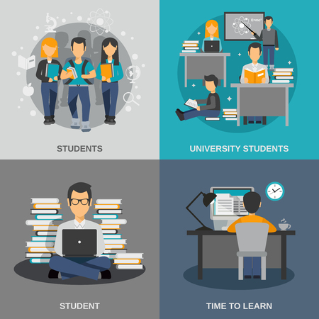 Illustration pour Student design concept set with flat university studying icons isolated vector illustration - image libre de droit