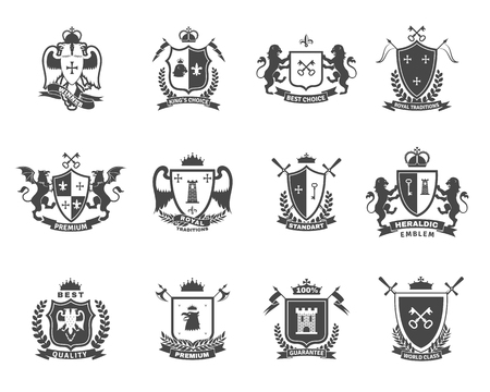 Heraldic premium quality black white emblems  set with royal traditions symbols flat isolated vector illustration