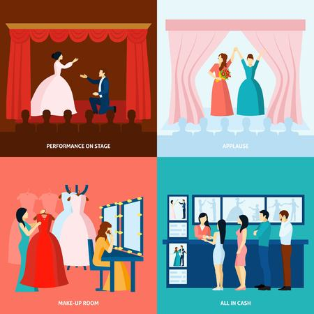 Theater performance approving applause and tickets at the door 4 flat icons square banner abstract vector illustration