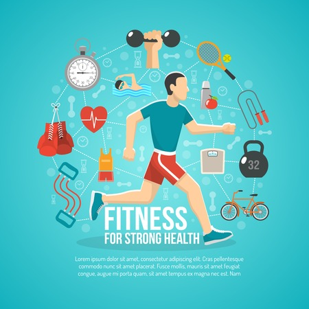 Fitness concept with running man and sports equipment vector illustration