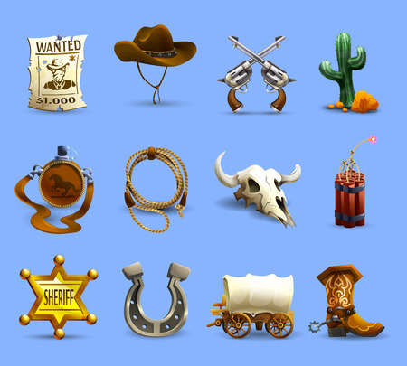 Illustration for Wild west realistic icons set with cowboy hat dynamite and cactus on blue background isolated vector illustration - Royalty Free Image