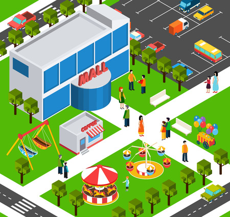 City shopping mall building area  with parking lot and playground street view isometric banner abstract vector illustration