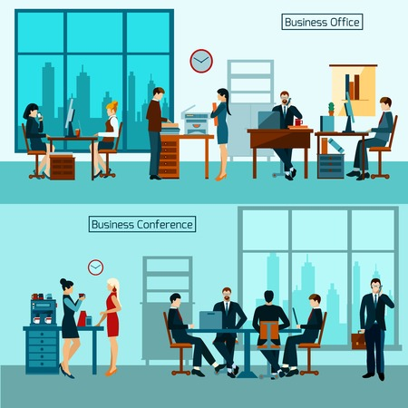 Office worker horizontal banner set with business conference isolated vector illustration