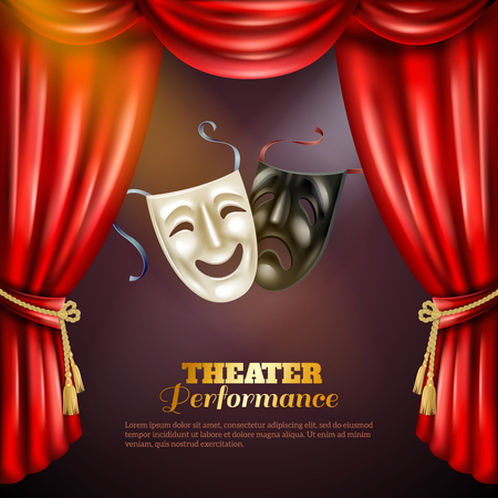 Theatre performance realistic background with comedy and tragedy masks vector illustration