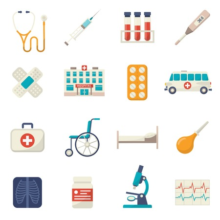 Ilustración de Medical icons flat set with wheelchair blood test hospital bed isolated vector illustration - Imagen libre de derechos