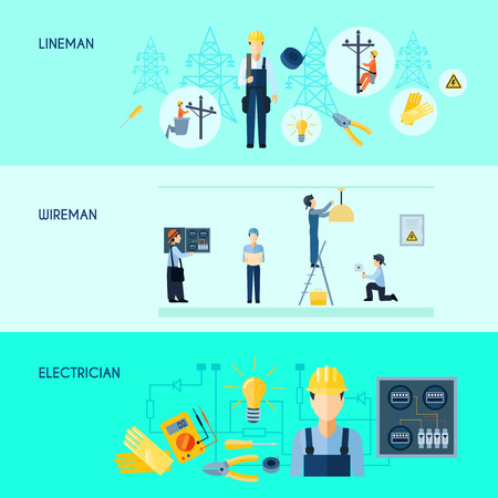 Set of three flat horizontal electricity banners with lineman wireman and electrician vector illustration