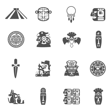 Maya Icons Black Set With Traditional Mexican Indian Culture Symbols