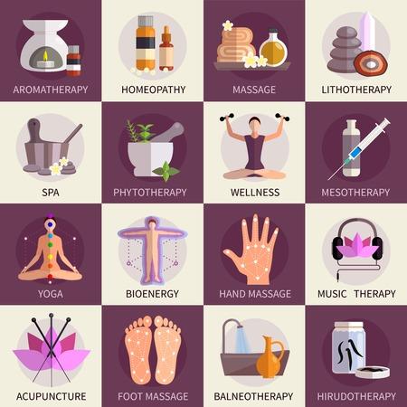 Ilustración de Alternative medicine icons set of yoga acupuncture wellness homeopathy  symbols   flat isolated vector illustration - Imagen libre de derechos