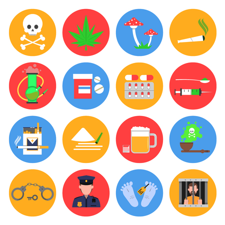 Drugs round icons set with drugs alcohol and smoking symbols flat isolated vector illustration