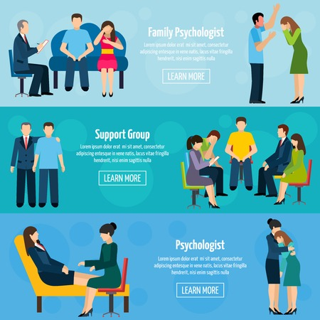 Ilustración de Family psychiatrist counseling  and support group 3 flat horizontal mental health banners set abstract isolated vector illustration - Imagen libre de derechos