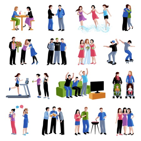 Illustration pour Colleagues friends classmates sharing  free time activities and important events flat icons set abstract isolated vector illustration - image libre de droit