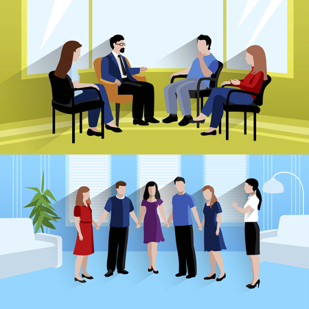 Ilustración de Family support center marriage counseling and emotions therapy 2 flat horizontal banners composition abstract isolated vector illustration - Imagen libre de derechos