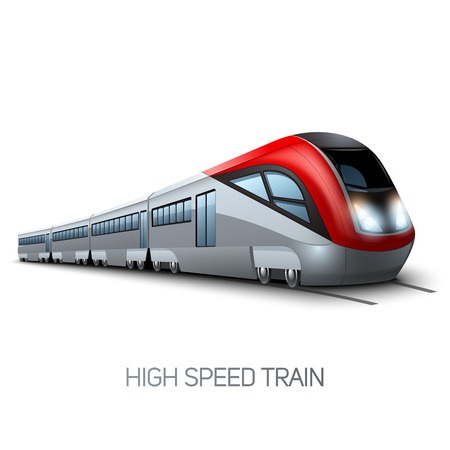 Illustration pour High speed realistic modern train locomotive on railroad vector illustration - image libre de droit