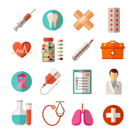 Foto de Flat icons set of medical equipment pharmaceutical products and health care isolated vector illustration - Imagen libre de derechos