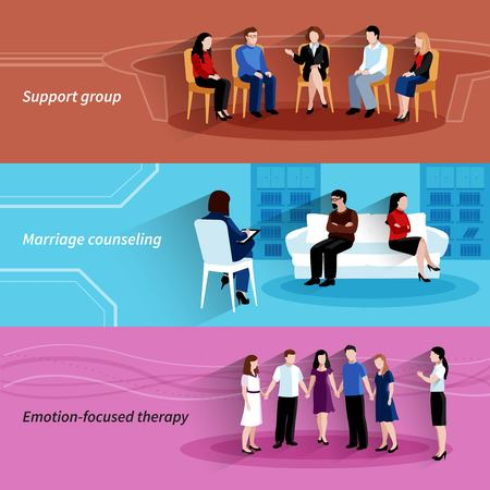 Ilustración de Marriages and relationship counseling with support group therapy 3 flat horizontal banners set abstract isolated vector illustration - Imagen libre de derechos