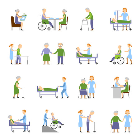 Nursing elderly people icons set with wheelchair food and drink symbols flat isolated vector illustration