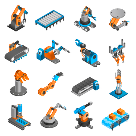 Illustration pour Industial robot and factory machinery 3d isometric icons set isolated vector illustration - image libre de droit