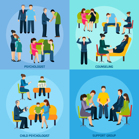 Ilustración de Mental disorder counseling psychologist and support group 4 flat icons square composition banner abstract isolated vector illustration - Imagen libre de derechos