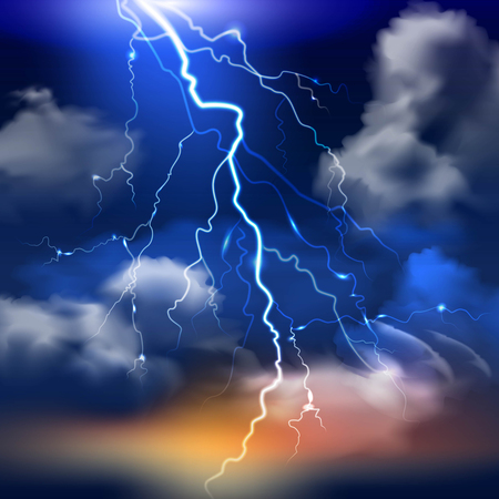 Lightning and stormy sky with heavy clouds realistic background vector illustration