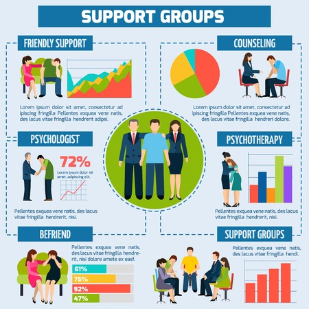 Ilustración de The effectiveness of psychological treatment counseling and support infographic presentation layout chart with target percentage vector illustration - Imagen libre de derechos