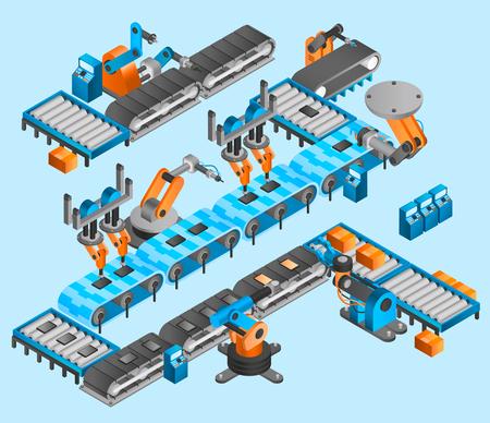 Illustration pour Industrial robot concept with isometric conveyor line and robotic arm manipulators vector illustration - image libre de droit