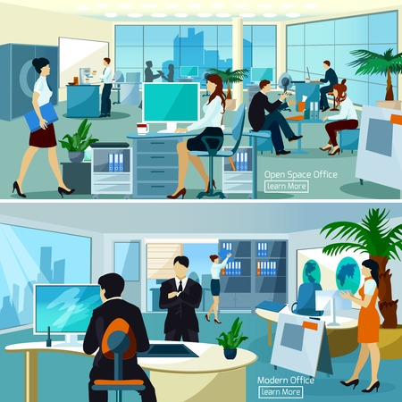 Illustration pour Flat color compositions with people talking and working at computers in open space office vector illustration - image libre de droit