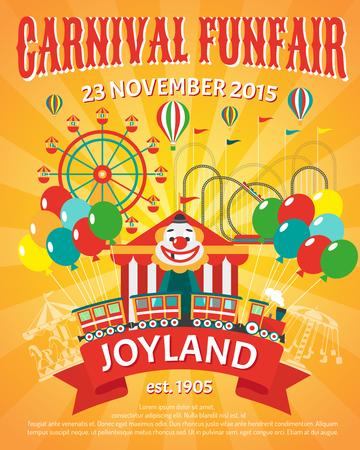 Illustration pour Carnival funfair promo poster with clown and party balloons vector illustration - image libre de droit