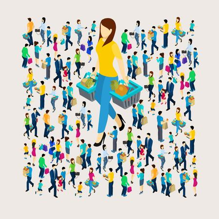 Illustration for Shopping concept with men and women holding bags isometric vector illustration - Royalty Free Image