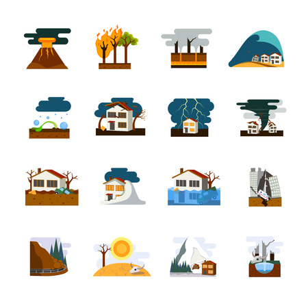 World worst natural disasters symbols flat pictograms collection with earthquake tsunami and avalanche danger isolated vector illustration