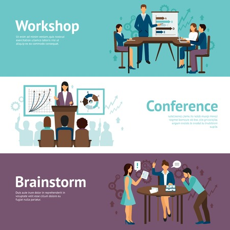 Illustration pour Horizontal banners set of scenes presenting business workshop conference and brainstorm flat vector illustration - image libre de droit