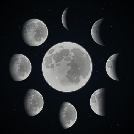 Ilustración de Moon phases set on dark space background with stars realistic vector illustration - Imagen libre de derechos